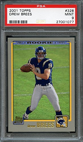 2001 topps #328 DREW BREES new orleans saints rookie card PSA 9 Graded Card (Card Drew Brees)