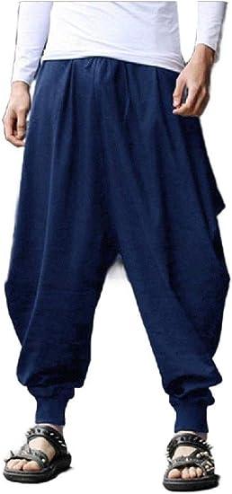 Candiyer Men Wide Leg Harem Long Pants Loose-Fit Vintage Casual Pants