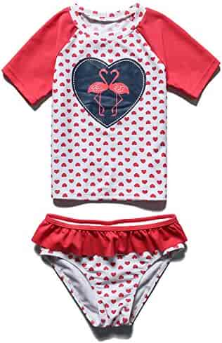 6fc4e4544356 UV 3-10Y TFJH E Girls Two Piece Swimwear Butterfly Dots Printed Swimsuit  UPF 50 Clothing