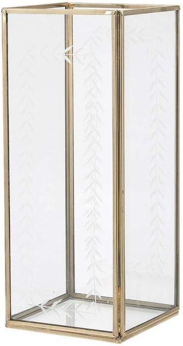 A Simple Mess Nesvik - Farol de cristal con marco dorado (26 cm ...
