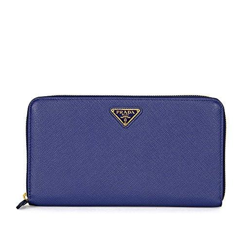 Prada Triangolo Saffiano Leather Wallet - Bluette