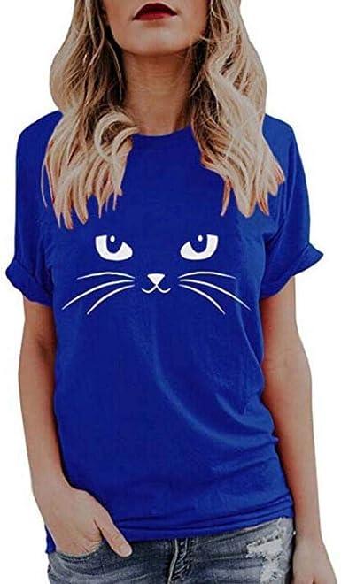 Camisetas Mujer Manga Corta SHOBDW Moda Playa Mar Basic Blusa Linda De La Impresión del Gato La Camisa Negra Jersey Básico Suelto Cuello Redondo Tops De Verano para Mujer: Amazon.es: Ropa y