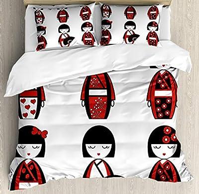 Duvet Cover SetGeisha Dolls Folkloric Duvet Cover SetDecorative 3 Piece Bedding Set with 2 Pillow Shams