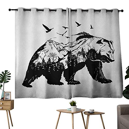 NUOMANAN Blackout Curtains 2 Panels Bear,Mammal Silhouette with Mountain Landscape Flying Birds and Forest Wildlife Design,Black White,Complete Darkness, Noise Reducing Curtain 52