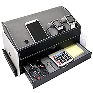 ikee design faux leather and gray velvet multi device charging station and desk. Black Bedroom Furniture Sets. Home Design Ideas