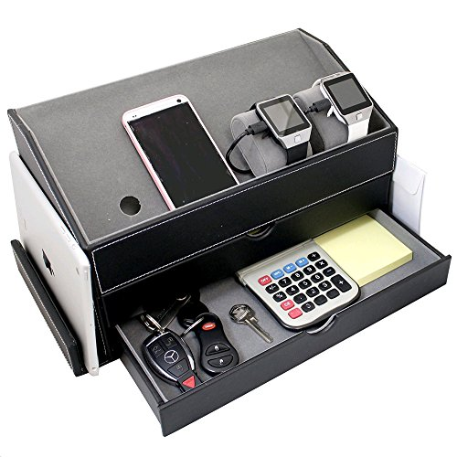 Ikee Design Faux Leather and Gray Velvet Multi-Device Charging Station and Desk Organizer on as Dock for Electronics like iPhones Apple Watches iPads Other Phones and Desk Items