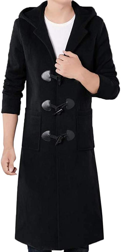 Cardigan Men's Autumn Winter Fashion Casual Ox HOM Buttons Wedding Suits for Men Hooded Long Windbreaker Coat Black