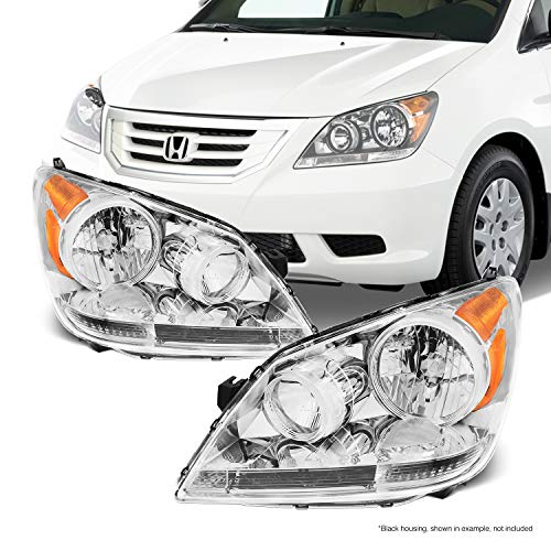 Fits 2008 2009 2010 Honda Odyssey Van Front Chrome Housing Headlights Headlamps Assembly Replacement Pair (Odyssey Headlamp Honda)