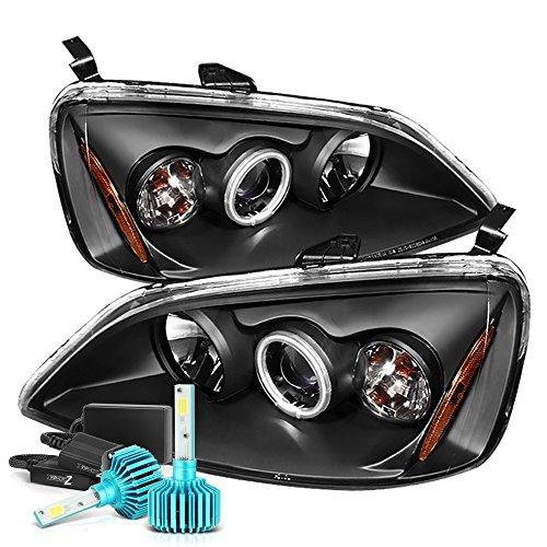 VIPMOTOZ CCFL Halo Ring Black Projector Headlight Lamp Assembly For 2001-2003 Honda Civic - Built-In Rainbow RGB LED Low Beam, Driver & Passenger Side