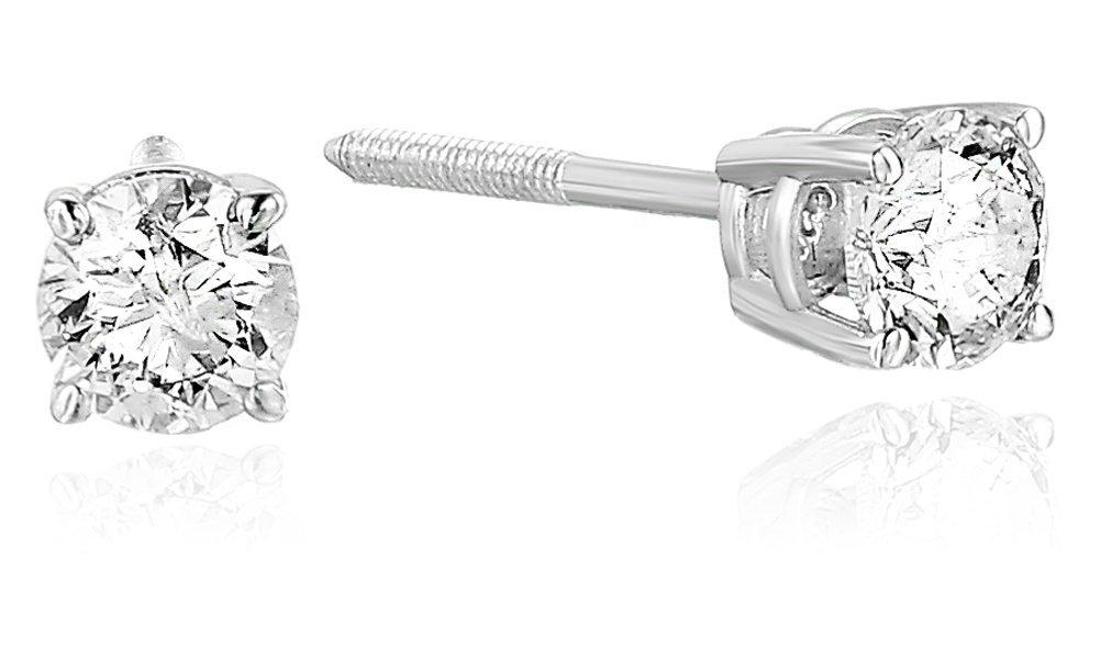 Vir Jewels 1/3 cttw Certified Diamond Stud Earrings 14K White Gold with Screw Backs I1-I2 by Vir Jewels