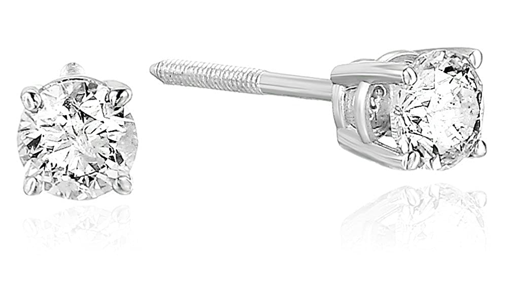 a5a46ad99 Amazon.com: Vir Jewels 1/3 cttw Certified Diamond Stud Earrings 14K White  Gold with Screw Backs: Jewelry