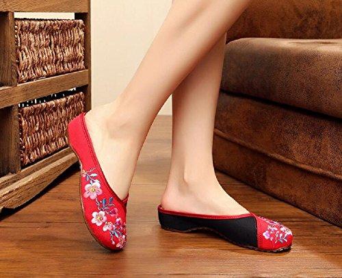 Lazutom - Zapatillas de estar por casa de Lona para mujer Red