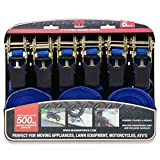 Mann Ratchet Tie Downs Straps 6-Pack with S-hooks 1-Inch x 15-Feet 500 Lbs Load Cap - 1500 Lb Break Strength