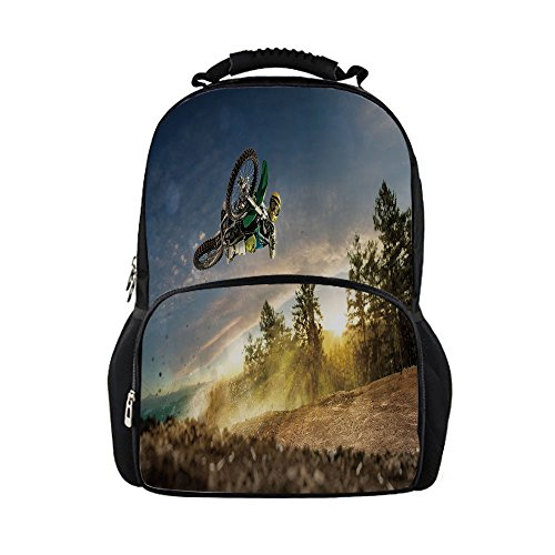 - iPrint Kids School Bag Teen Room Decor,Man on the Bike Racing in Earth Path Nature Exotic Sports Success Image,Multicolor Girls boys