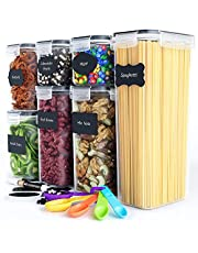 Chef's Path Airtight Food Storage Containers Set - Kitchen & Pantry Organization - BPA-Free - Plastic Canisters with Durable Lids Ideal for Cereal, Flour & Sugar - Labels, Marker & Spoon Set