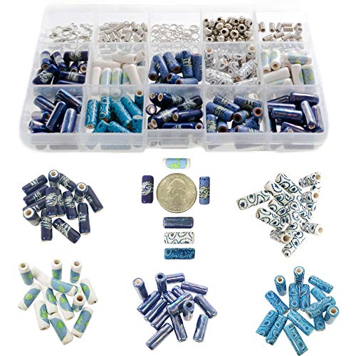 - 150 PCs Porcelain Ceramic Beads for Jewelry Making DIY Kit with 5 Meters Genuine Greek Leather Cord, Free Leather Necklace - Includes Metal Spacer Beads, Parts, Jump Rings, Lobster Clasps (Nautical)