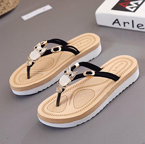 Sentao Mujeres Verano Flip Flops Zapatos Bohemia Playa Sandalias Zapatillas con cuentas Negro 1