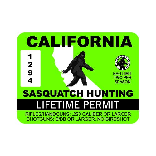 "RDW California Sasquatch Hunting Permit - Color Sticker - Decal - Die Cut - Size: 4.00"" x 3.00"""