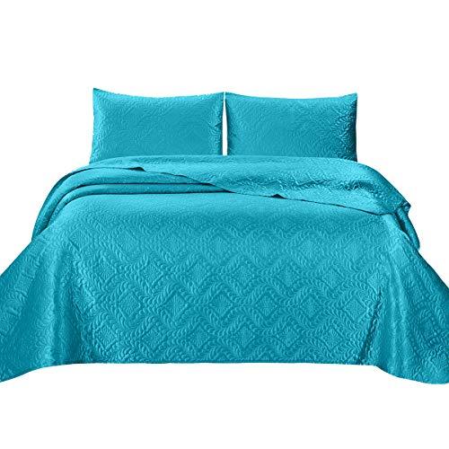 (ARTALL Full/Queen Size Bedspread, Silky Super Soft 3 Piece Deep Pocket Satin Solid Bed Quilt Coverlet - Teal Blue)