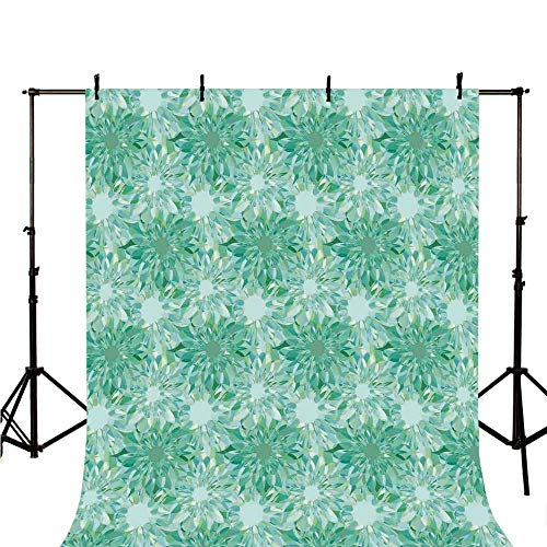 (Turquoise Decor Stylish Backdrop,Floral Pattern with Beryl Crystal Guilloche Flowers Carving Art Decorating Image Print for Photography,118