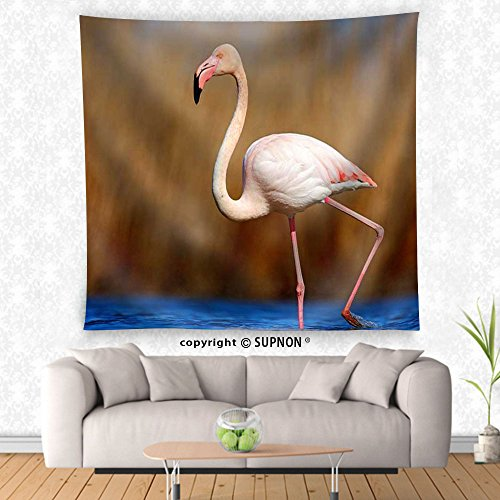 Greater Flamingo Tapestry (VROSELV custom tapestry Greater Flamingo Phoenicopterus ruber pink big beautiful bird in dark blue water - Fabric Wall Tapestry Home Decor)