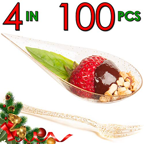 DLux 100 4-in Tear Drop Mini Appetizer Plates w/Forks, Gold Glitter Clear Plastic Spoon - Dessert and Appetizers Dishes Serving Plate - Disposable Asian Spoon Set, Small Catering Dessert Tasting Cups