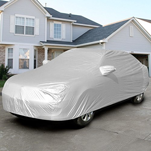Safstar Full Car Cover, Auto Armor All Weather Proof Universal Fit , Sun UV, Snow, Dust Rain Resistant, Gray