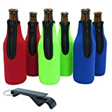 Beer Bottle Sleeves - Set of 6 (Classic) Bottle Sleeves - Extra Thick Neoprene with Stitched Fabric Edges with Bonus...