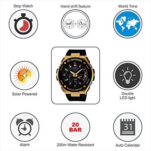 3292e7d333d7d Amazon.com  Casio G-Shock G-STEEL Series Solar Powered World Time Analog  Digital Gold Black Resin Watch