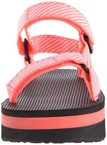 Teva Flatform universal de la sandalia de las mujeres La raya del caramelo Coral