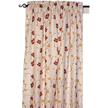 zoe floral print tailored panel semi sheer curtain 48 inch by 45 inch red home. Black Bedroom Furniture Sets. Home Design Ideas