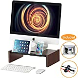Wood Monitor Stand Riser Storage Organizer for Computer,Printer,iMac,Laptop,Desk with Tablet & Phone Holder,Cable Management Slot,Espresso