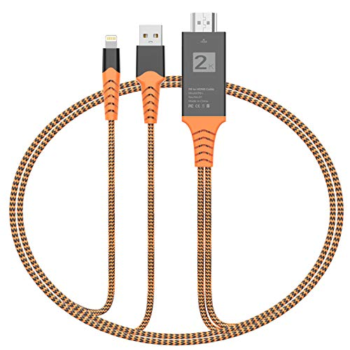 Dansrue Compatible With iPhone iPad To HDMI Cable, 2019 Latest 1080P HDMI Adapter Connector Cable, Digital AV Adaptor Cord For iPhone, iPad, iPod To TV Projector Monitor ()