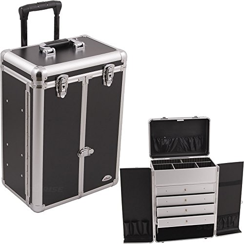 SUNRISE Makeup Case on Wheels C6008 Professional Organizer, French Doors, 4 Drawers, Adjustable Drawers, Brush Holder and Pockets, Locking, Black with Silver Trim by SunRise