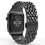 MoKo Band for Apple Watch Series 3 Bands, Stainless Steel Metal Replacement Smart Watch Strap Bracelet for iWatch 42mm 2017 Series 3 / 2 / 1 - Space GRAY (Not Fit iWatch 38mm)