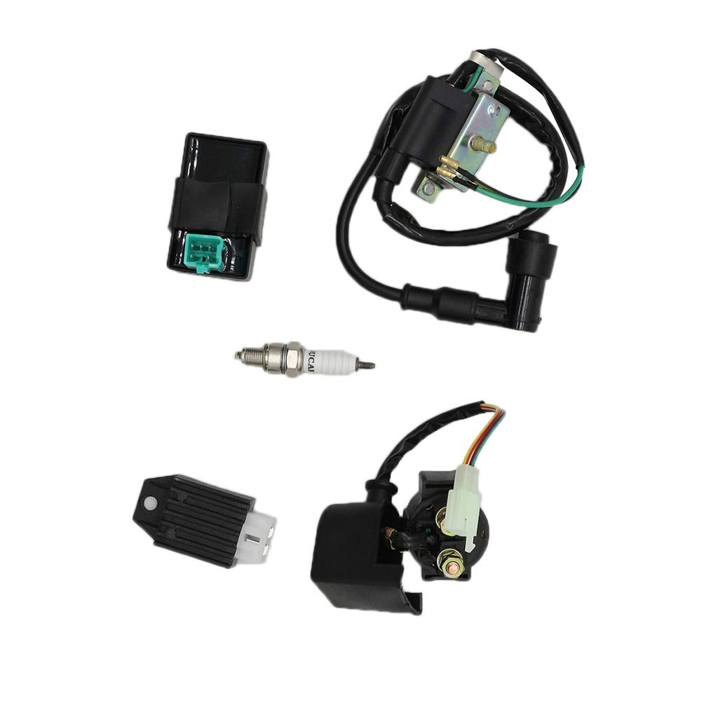 CNCMOTOK CDI Box Ignition Coil 5 Pin Regulator Rectifier Relay Spark plug For Kazuma Meerkat 50cc Falcon 70cc 90cc 110cc Taotao Roketa Coolster 110CC ATV 3050B X15 X 18 R Nitro X19 SSR Pocket Bike by CNCMOTOK