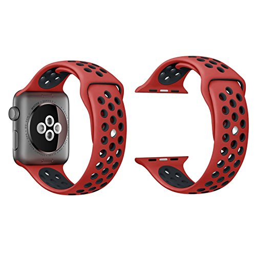 Apple Watch Silicone Replacement Band, Sport Edition by Pantheon,Strap fits the 42mm Apple Watch 1, 2, and Nike edition (Red and Black, 42)