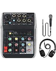 Phenyx Pro Mezclador de audio de 4 canales, 4 entradas, ecualizador de 3 bandas, tamaño compacto con sección de efectos, conectividad USB a ordenador/PC, ideal para grabación en casa, conciertos pequeños, ajustes de música en vivo