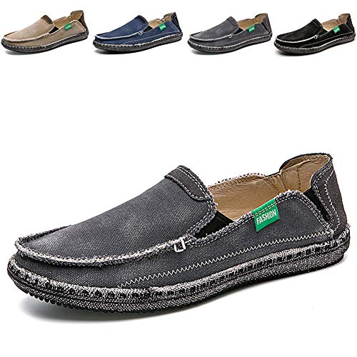 Flat Casual Shoes Men (CASMAG Men's Casual Cloth Shoes Canvas Slip on Loafers Leisure Vintage Flat Boat Shoes Grey 2 US 10.5 M)