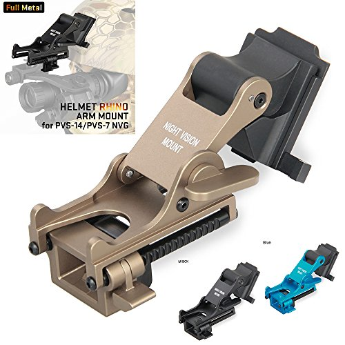 Mount Rhino (Night Vision Goggles (NVG) Rhino Mount for PSV-7 PSV-14 Full Metal Tactical Helmet Mount(Tan))