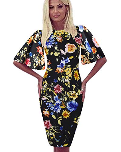 Zshujun Women's Vintage Classic Floral Formal Office Work Dresses Casual Knee-Length Bodycon Pencil Sheath Dress 1189 (Flower 1, XL)