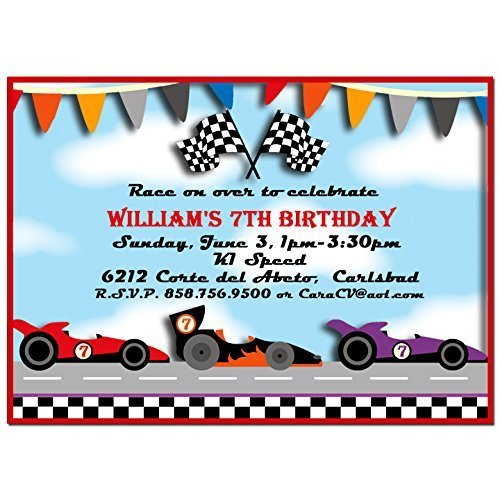 amazon com race car party invitations with any wording printed or