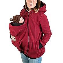 YINUOWEI Women Maternity Fleece Hoodie Kangaroo Sweatshirt Jacket Baby Carrier