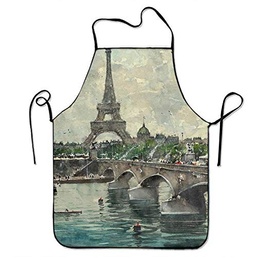 Anyako Artistic Painting River Watercolor Eiffel Tower Paris Bridge Funny Gift Adjustable Bib Apron Adult Home Kitchen Apron Chef Apron for Men and -
