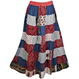 Mogul Interior Womens Long Skirt Vintage Artistically Inspired Patches Printed Cotton Patchwork Skirts (Red, Blue),Small /Medium