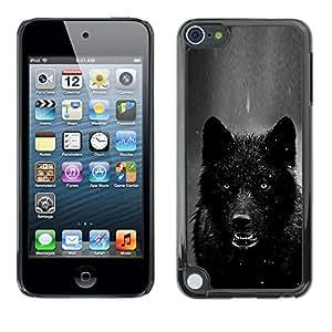 FlareStar Colour Printing Werewolf Angry Black White Winter Wolf cáscara Funda Case Caso de plástico para Apple iPod Touch 5