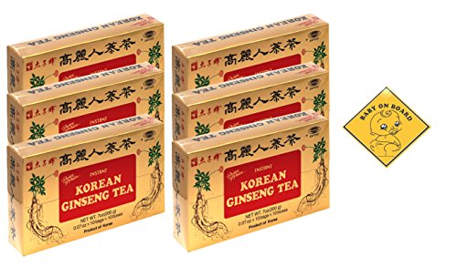 Red Panax Ginseng Honey (Prince of Peace Korean Ginseng Tea(instant) 0.07 Oz X 10 Bags X 10 Boxes (6))