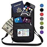RFID Blocking Travel Passport Holder Neck Pouch Wallet for Men & Women