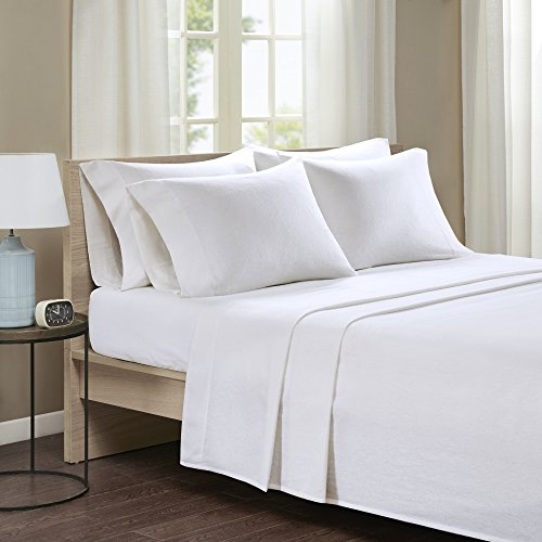 Comfort Spaces - Ultra Soft And Cozy Printed Solid 100% Cotton Flannel Sheet Set - 6 Piece - Queen - Ivory - Includes 1 Fitted Sheet, 1 Flat Sheet and 4 Pillow Cases (Sheet Flat Ivory)