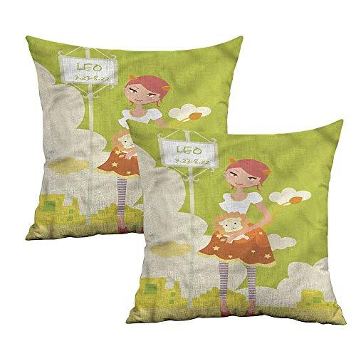Khaki home Zodiac Leo Square Pillowcase Covers with Zipper Woman Holding a Lion Square Slip Pillowcase Cushion Cases Pillowcases for Sofa Bedroom Car W 16